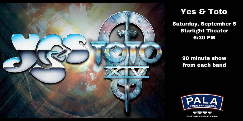 Yes & Toto Saturday, September 5 6:30 PM @PalaCasino  https://t.co/PzvWpv02IU @yesofficial @toto99com http://t.co/nGQyU0eiHI