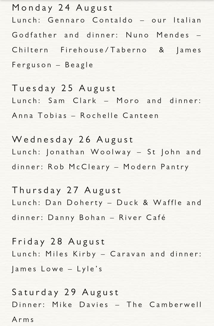 RT @Clerkenwell_Boy: Incredible chef line up @JamiesFifteen in support of the Class of 2015 Apprentices' final week http://t.co/UjaB0UZtcc …