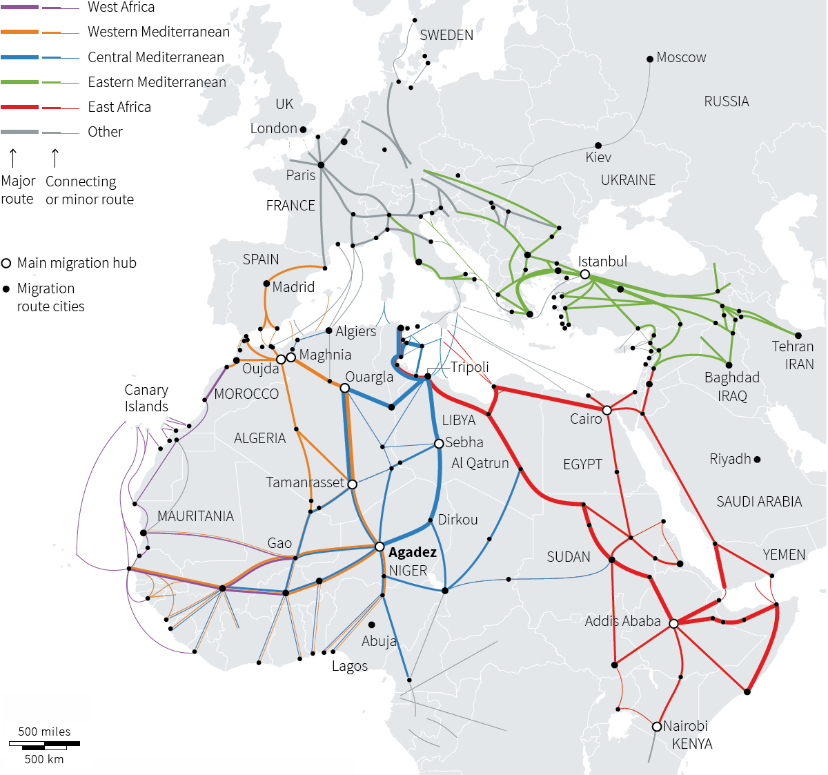 Love this visualization of migration paths to Europe. 800,000 to Germany this year alone. http://t.co/X5rido72uK http://t.co/DLOGsXZlNE
