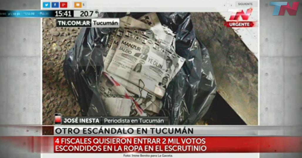 Confirman que fiscales que intentaron ingresar votos al recuento definitivo son de @FPVTucuman y @libresdelsurtuc. http://t.co/0HViXfi5Jc