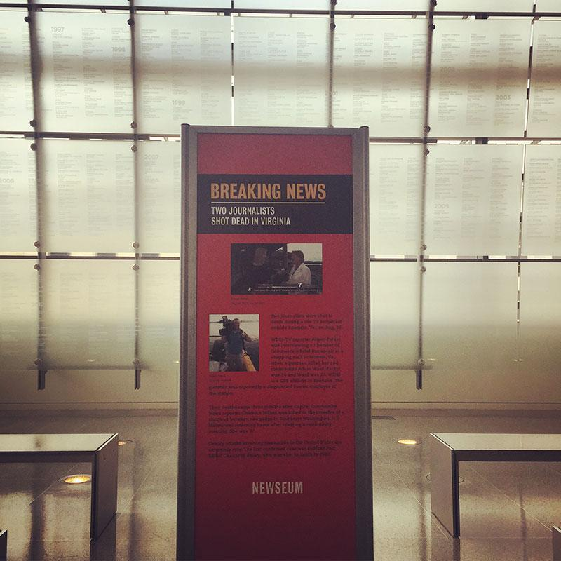 Remembering @WDBJ7 reporter #AlisonParker & cameraman #AdamWard today in the Newseum. #WDBJ http://t.co/ATQySfiCza