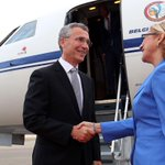 #NATO SG @jensstoltenberg was greeted by MF of #Georgia Tamar Beruchashvili at the #Tbilisi airport http://t.co/5wKDiFkKhu