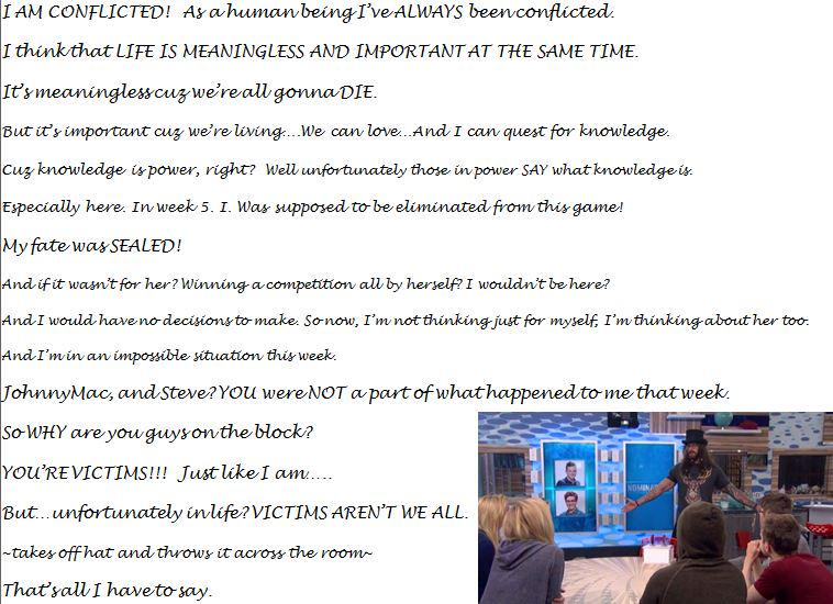 Austin's nomination ceremony speech.Written and preserved for all of time in his favorite font #BB17 Savor its depth. http://t.co/LUzZ77r7cd