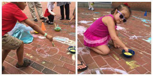 Artists at work on the patio with our homemade chalk paint  (water, cornstarch, and food coloring). http://t.co/6SPa05wbkF
