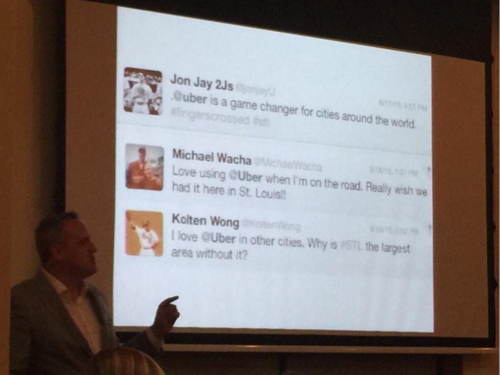 Best slide of the night: players of the @Cardinals tweeting disappointment about no Uber @EdwardDomain #SMCSTL http://t.co/UmLlRQ3jT7