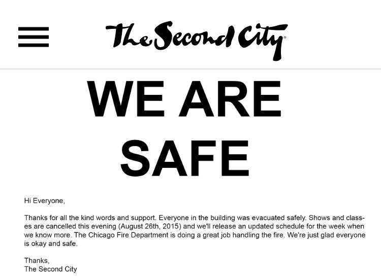SECOND CITY UPDATE: We are safe. THANK YOU for all the kind words and support. http://t.co/m0FMlo5wxz