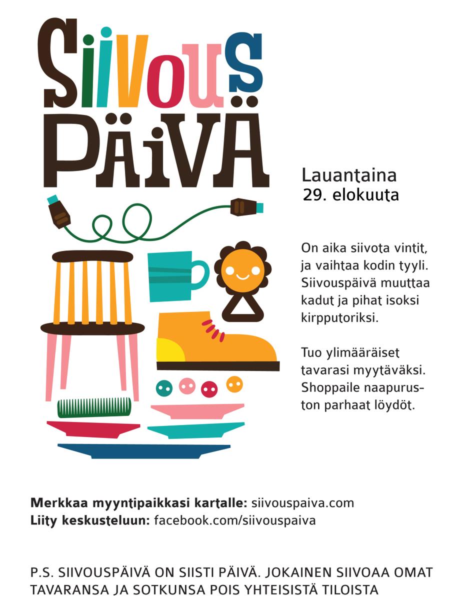 Lauantaina kirppistelemään! Olemme jälleen mukana mahdollistamassa @Siivouspaiva'a. http://t.co/Y18CPKMpON