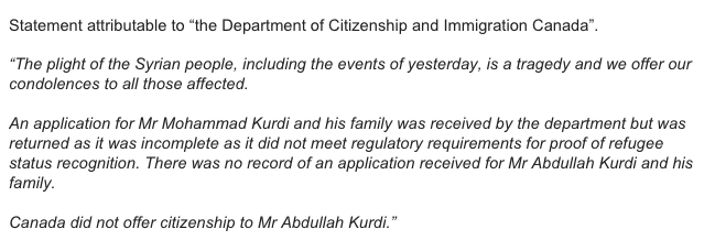 Statement from the Department of Citizenship and Immigration Canada on the Kurdi family #cdnpoli http://t.co/vW3aUHms26