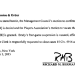 OFFICIAL: In a 40-page decision, Judge Berman rules in favor of Tom Brady and the NFLPA. Four-game suspension vacated http://t.co/qhJ1YcZGH8