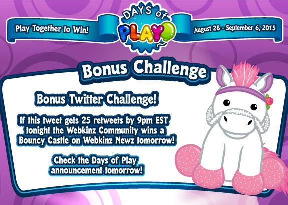 Retweet by 9pm to help the @Webkinz Community win a bonus prize! Check the  #DaysofPlay post on Newz tomorrow! http://t.co/lrf413Sj8T