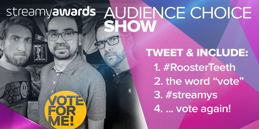 Retweets count as votes..wink!  We vote for #RoosterTeeth for Show of the Year at the #streamys! http://t.co/Pt4dfCA4Ix