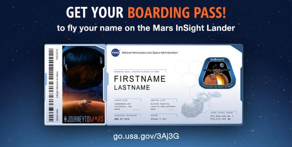 Time is running out! Get your boarding pass & send your name to Mars with @NASAInSight! http://t.co/Uh2nro5wS3 http://t.co/QEimFsKYfM