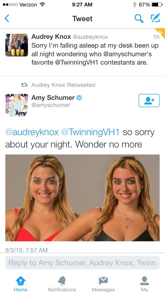 I know @amyschumer is hilarious but this is really PROOF she knows comedy. @TwinAnnamarie @TwinGinamarie #Twinning http://t.co/xgorLjYlpk