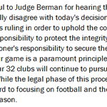 Roger Goodell releases a statement that the NFL will appeal todays decision. http://t.co/hYaOoi96an