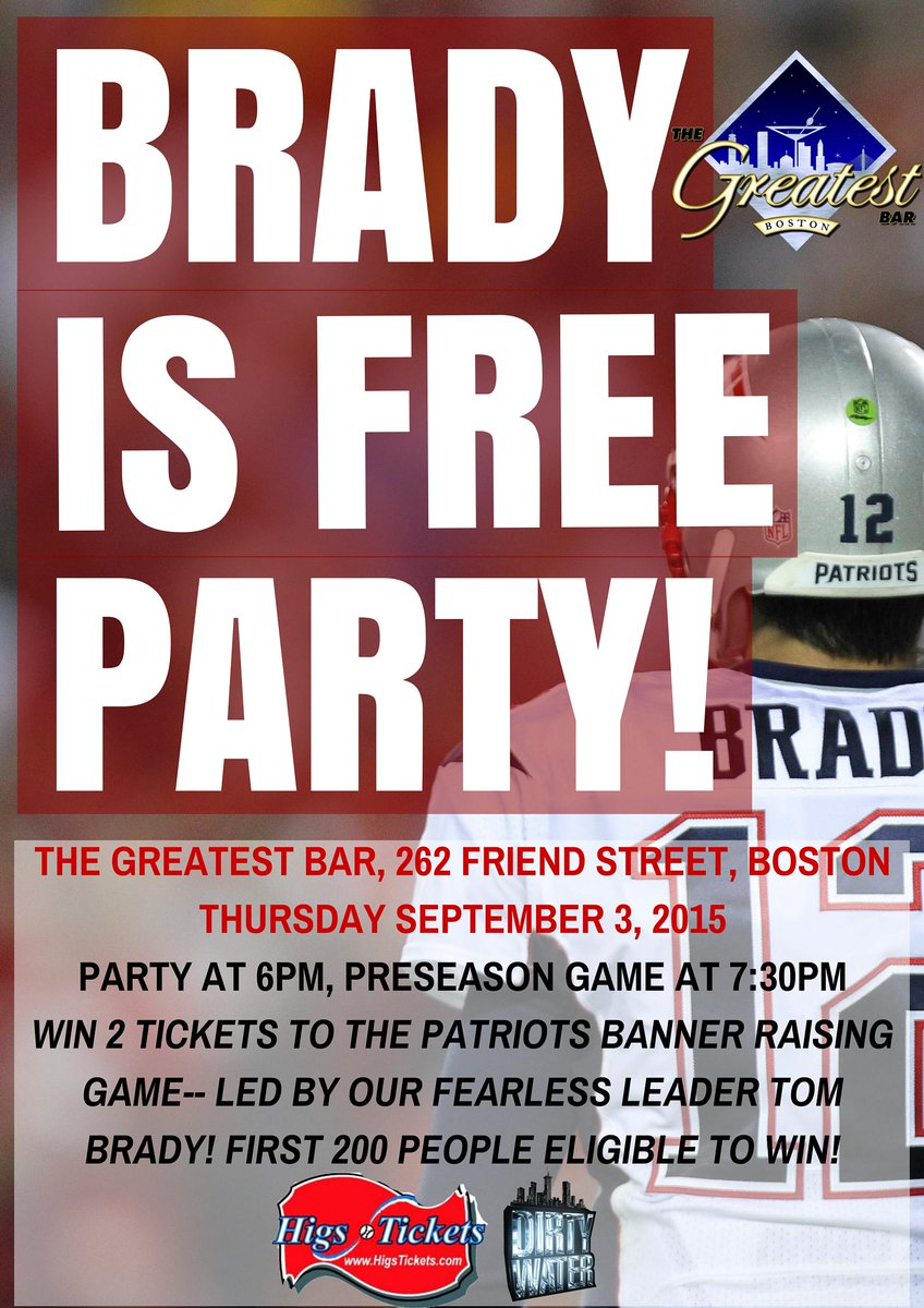 BRADY IS FREE! Come party tonight for your chance to win 2 tickets to the Patriots banner raising game! http://t.co/HSzjn9QBst