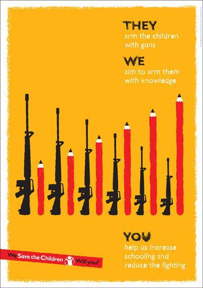 すごく前にネットで見つけたポスターだけどとても好き。 こどもに持たせたいのは銃ではなく知性だ。 http://t.co/cIf7UR4eI0