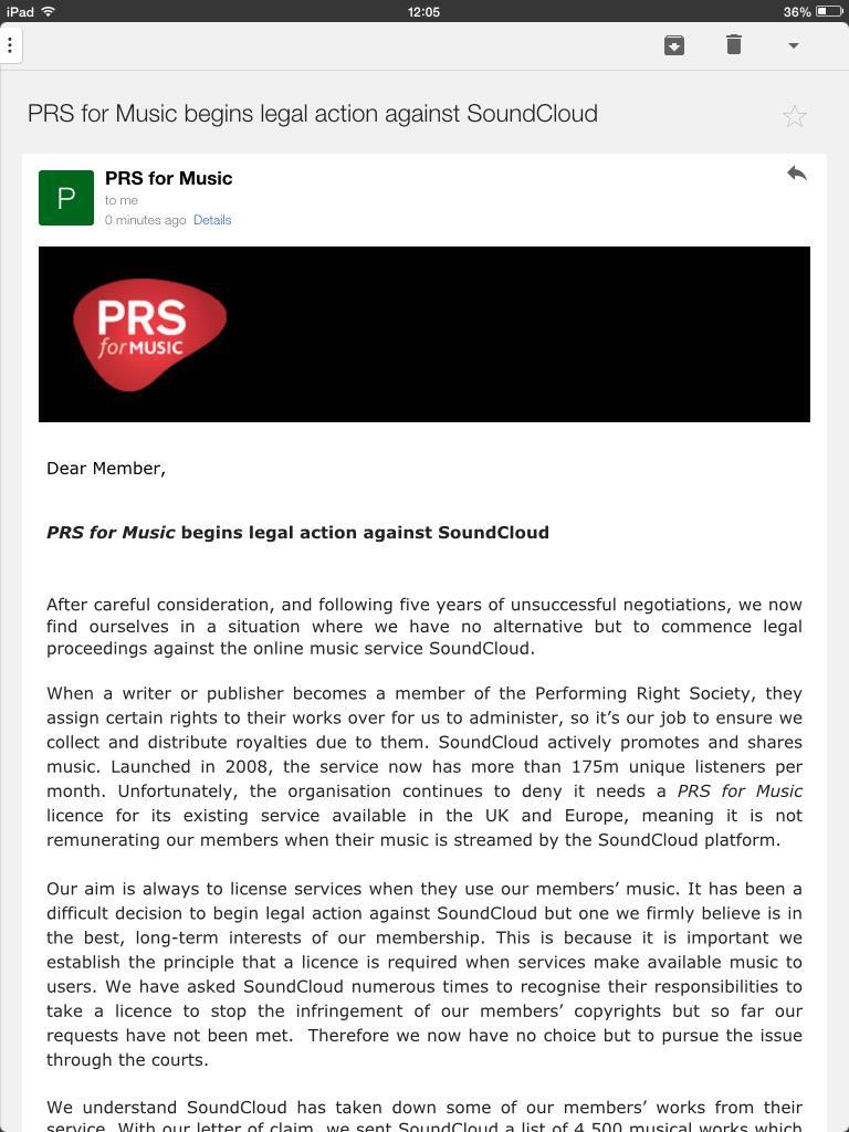 PRS are starting legal action against SoundCloud. Blimey... http://t.co/CDnkgjT91a