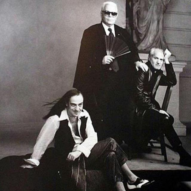 A fashion forward #TBT - Galliano, Lagerfeld & Versace in the mid 1990s #fashion Creative geniuses http://t.co/DXi4opO3uM