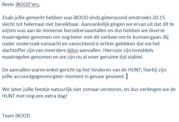 Traagheid #ibood #hunt veroorzaakt door ddos-aanvallen. Meer informatie in de image hieronder. http://t.co/sY7JajGJcc