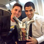Former Ajax captain Luis Suarez with the best player of Europe this past season, Lionel Messi. #ajax http://t.co/MYeZm2ybd9