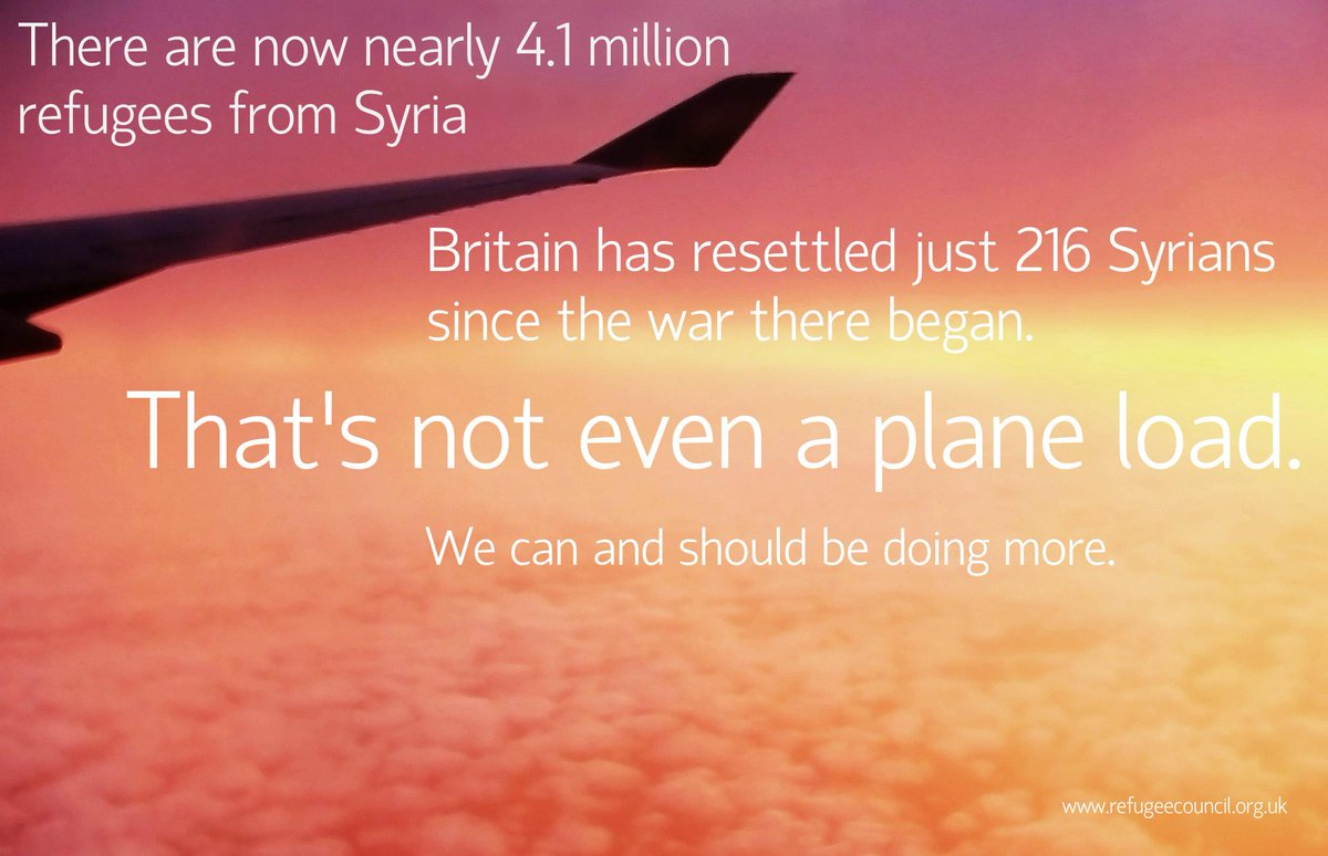 While Germany, Canada, US, Norway etc are resettling tens of thousands, UK has resettled just 216 Syrians. Woeful. http://t.co/02jAqan2aY
