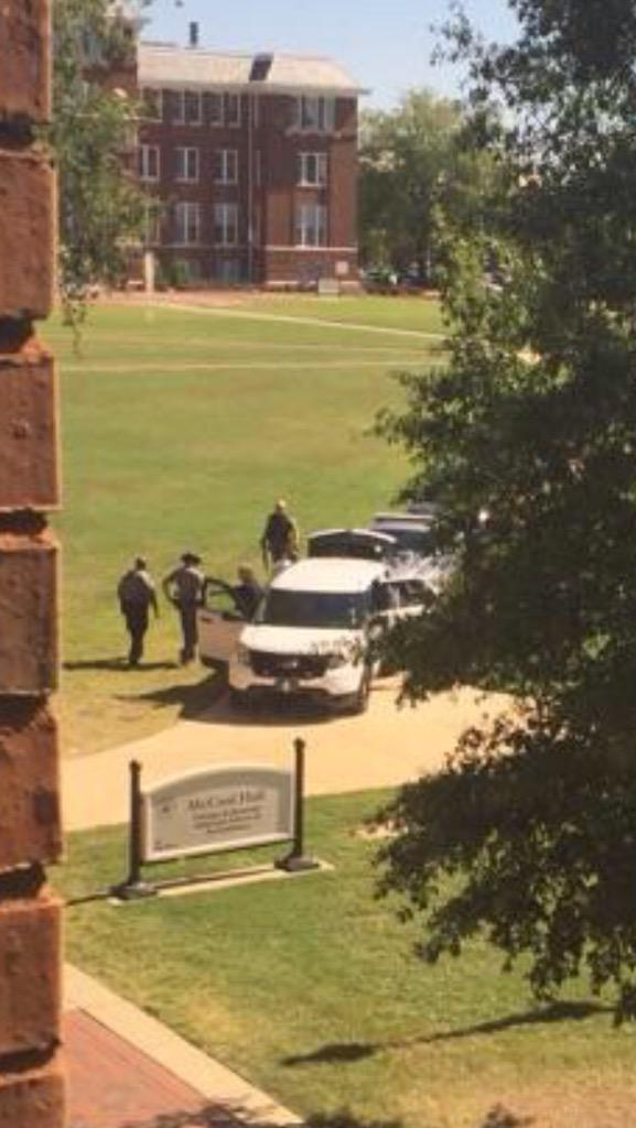 Pictures of alleged shooter being arrested at McCool Hall at @msstate. @wtvanews will have more. #msstateshooting http://t.co/5yrczXzwfG