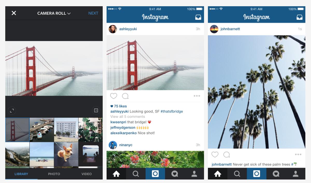 Instagram มีอัพเดทใหม่!! เปิดให้อัพรูป/วีดีโอที่ไม่ใช่ 4 เหลี่ยมจตุรัสได้เป็นครั้งแรก http://t.co/RYvvUNVS6G