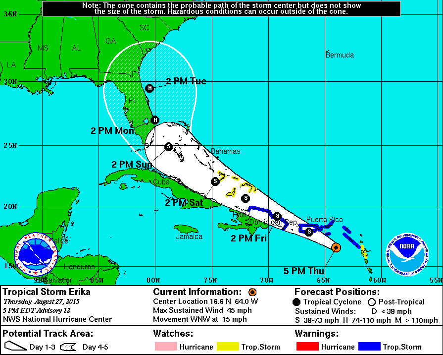 TS #Erika is approx 1,200 miles SE of Miami moving WNW at 15mph. FL now within the 3-day forecast cone. http://t.co/J8tUbo9vY7