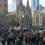 """Protestors against #BorderForce have moved to block Flinders St intersection. """"Refugees welcome, border force is not"""" http://t.co/T4qhh7Aa93"""
