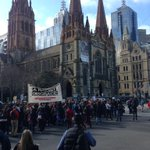 Protesters at the #BorderForce press conference have shut down the Flinders St station intersection. @triplejHack http://t.co/AhaFKjPECc