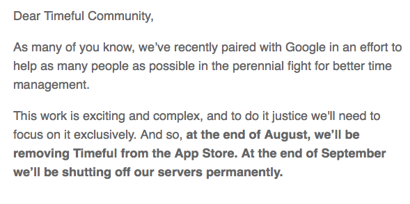 """We recently paired w/ Google to help as many people as possible! That's why we're shutting down.""  Oh. /cc @Pinboard http://t.co/ARDYM28c8E"