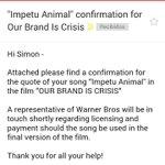 Nuestra canción IMPETU ANIMAL ha sido elegida para una escena de la película OUR BRAND IS CRISIS. ¡Salud! http://t.co/eIWQPnuq2R