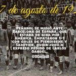 #RecuerdoCarbonero Un 27/8/1928, Barcelona de España igualó 1-1 con #Peñarol en Montevideo. Carlos Gardel fue clave. http://t.co/jTxO25xALC