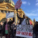 Protesters occupy the intersection of Swanston and Flinders Streets in Melbourne #BorderForce http://t.co/ZK7VUYPHEE