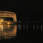 Freighter American Century passes beneath Aerial Lift Bridge in #Duluth #Minnesota tonight http://t.co/bYpzWV7frt
