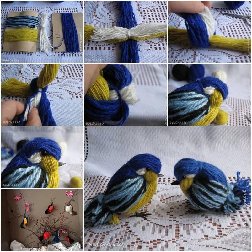 Как сделать птицу своими руками из ниток