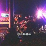 San Pedro de la Paz, imágenes choque de camioneta con poste, dos fallecidos. Foto @CEBB_110 http://t.co/tyPN2G8L5x