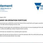 """Vic Police Minister @wadenoonan: ABFs characterisation of Operation Fortitude """"inappropriate"""" #BorderForce http://t.co/pSmLN7RAXu"""