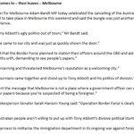 """Melbourne has run Tony Abbotts ugly politics out of town,"" - Greens MP @AdamBandt #auspol #borderforce http://t.co/giFYTv0Vxj"