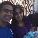 Johaan celebrating his first onam & Ammas bday. Happy onam from Pia,Nidheesh & Johaan:) #firstfamilyselfie http://t.co/RkFNfiz1XY