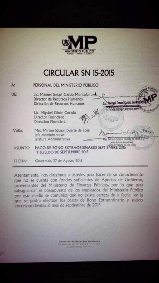 Que bajo cayó OPM, denegando el sueldo a quienes lo investigan. No lo permitamos. #GuateApoyaAlMP #RenunciaYa http://t.co/5rbU2QgQux