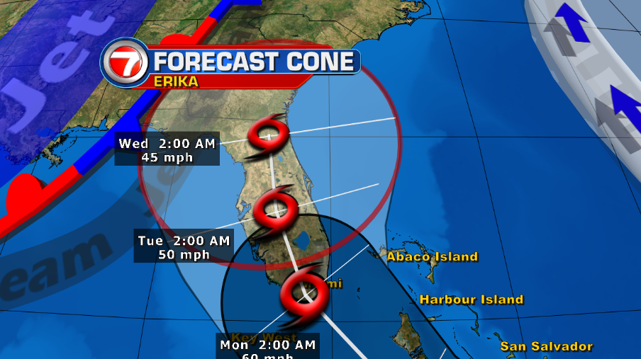On the latest track as of 5am, the center of Erika is forecast to impact south FL overnight on Monday. @wsvn http://t.co/PoCEbOi4CM