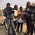 Good Morning Namibia this morning. Taking TV to the people. #OmusatiRegion #NBC #Outapi #Work http://t.co/iSlYN0ine5