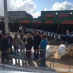 .@simoncoveney welcoming @OysterhavenCrew to Cork after a 5 day sailing training voyage on board #CorkBursaryVoyage http://t.co/5qkHtx03PB