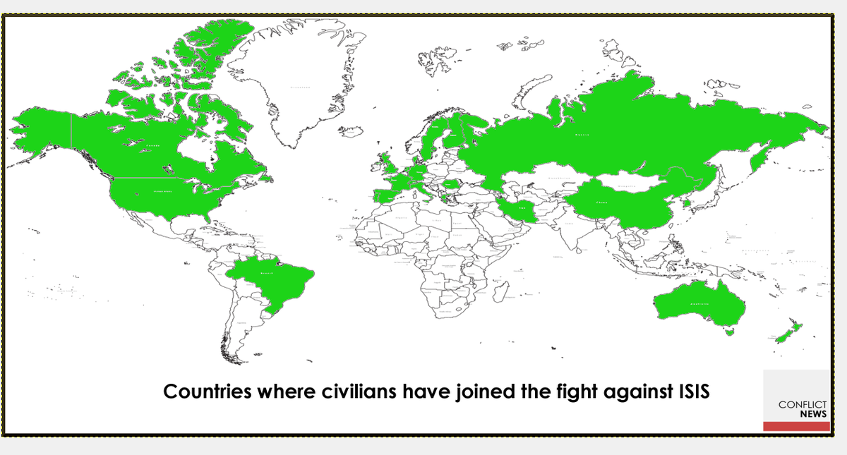 Map civilians from 22 countries have joined the fight against