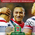 HALF TIME and the Roosters lead 16-6 at Brookvale Oval! Liking this one Roosters fans? #Represent #NRLManlyRoosters http://t.co/3MK8D5srdL