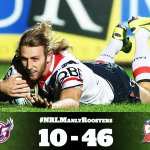 Roosters backline enjoys night out against Sea Eagles at Brookvale Oval. #NRLManlyRoosters #NRL http://t.co/T60oiTA5cw