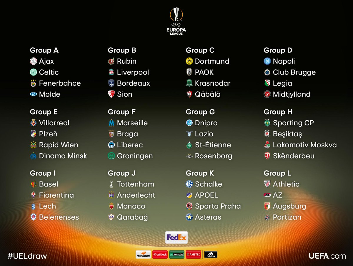 RT @EuropaLeague: The official result of the #UELdraw: http://t.co/A79lF67sw6