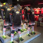 Red, white and black. All three kits are available now in the Old Trafford Megastore. http://t.co/Lq2Gf13UOD