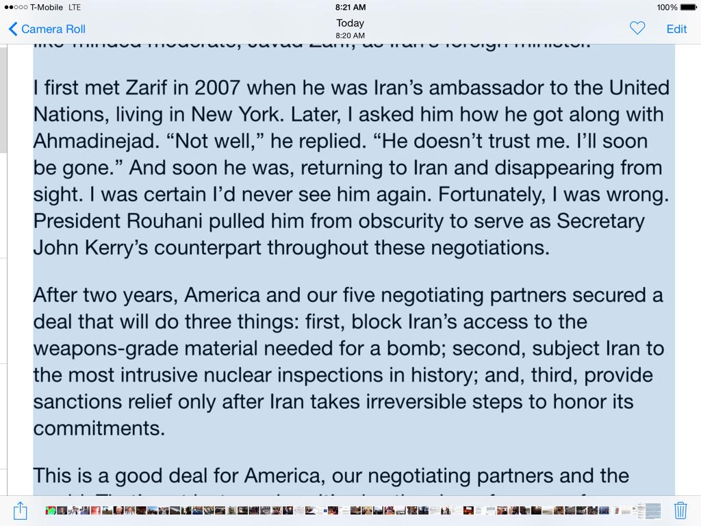 Really interesting statement from Sen. Tom Carper (D-Delaware) about why he supports #Iran deal. Met Zarif in 2007 http://t.co/Lv6WyC6qfa